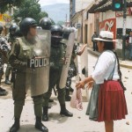 Bolivian woman confronts police