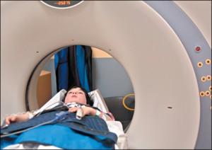 Child in imaging machine