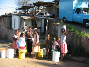 Children collect water South Africa