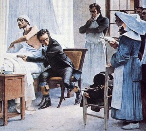 Laennec examines patient with stethoscope