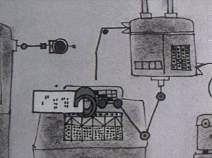 Machine moves a computer punch-card