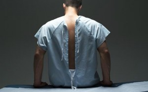 Patient in open-back gown