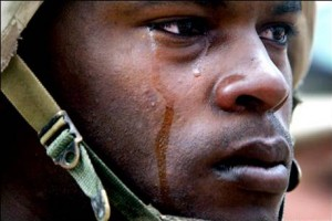 Soldier crying, PTSD