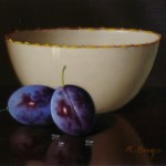 Still life with porcelain bowl and plums Ladislaus Rath Berger
