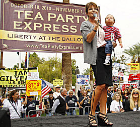 Sarah Palin with baby at Tea Party Express