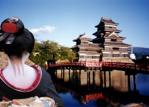 Japanese temple and geisha